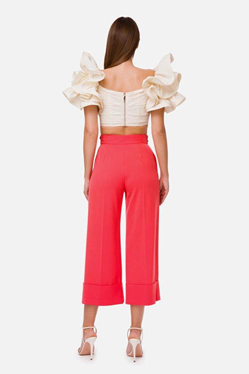 Immagine di Pantaloni in crêpe con inserto in paillettes Elisabetta Franchi