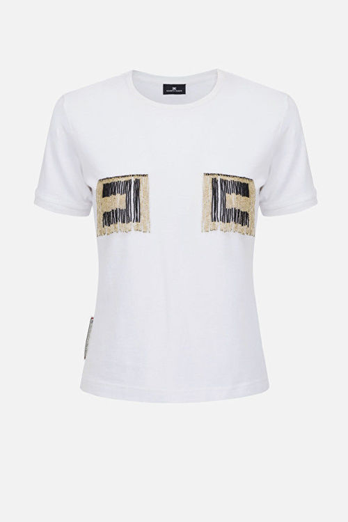 Immagine di T-shirt con logo perline Elisabetta Franchi (SOLD OUT)