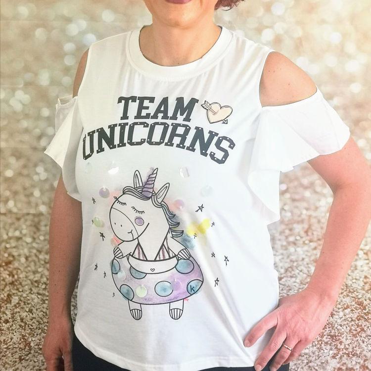 Immagine di T-Shirt con stampa unicorno Koralline