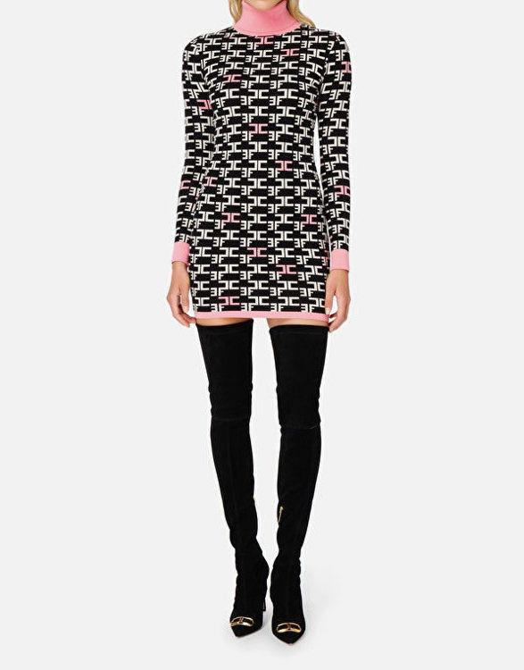 Immagine di Mini abito dolcevita con logo Elisabetta Franchi