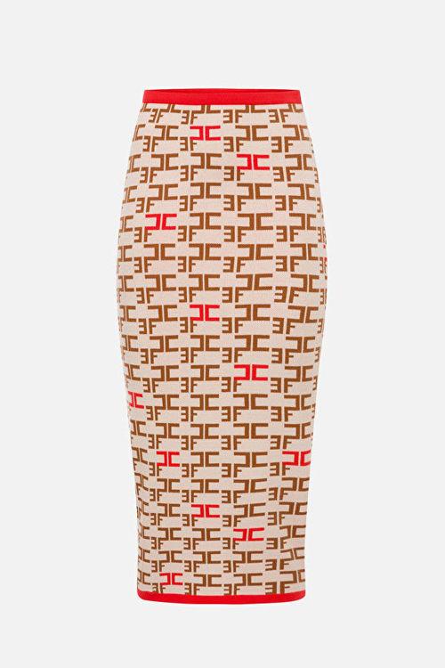 Immagine di Longuette in maglia con stampa logo Elisabetta Franchi (ESAURITO)