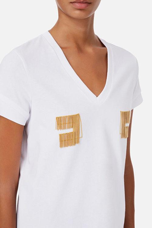 Immagine di T-shirt con logo ricamato in oro light Elisabetta Franchi