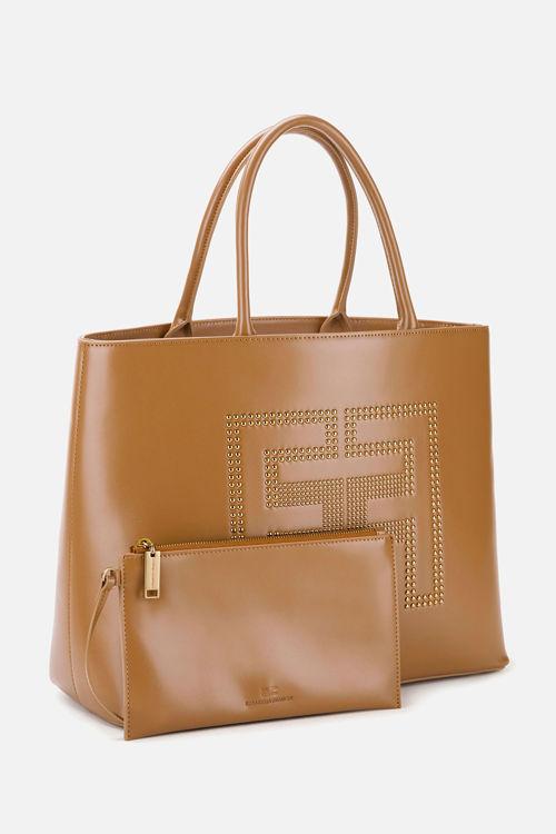 Immagine di Shopper in ecopelle con logo borchiato Elisabetta Franchi (ESAURITO)