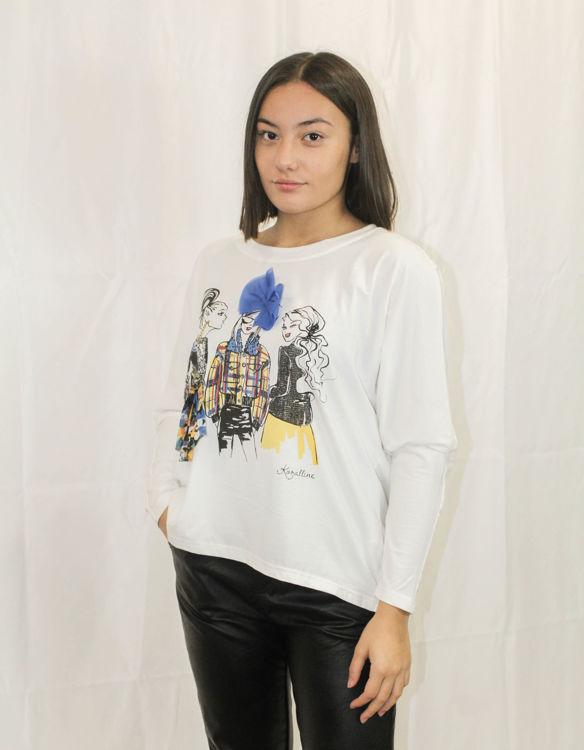 Immagine di t.shirt maniche lunghe con stampa tre ragazze Koralline