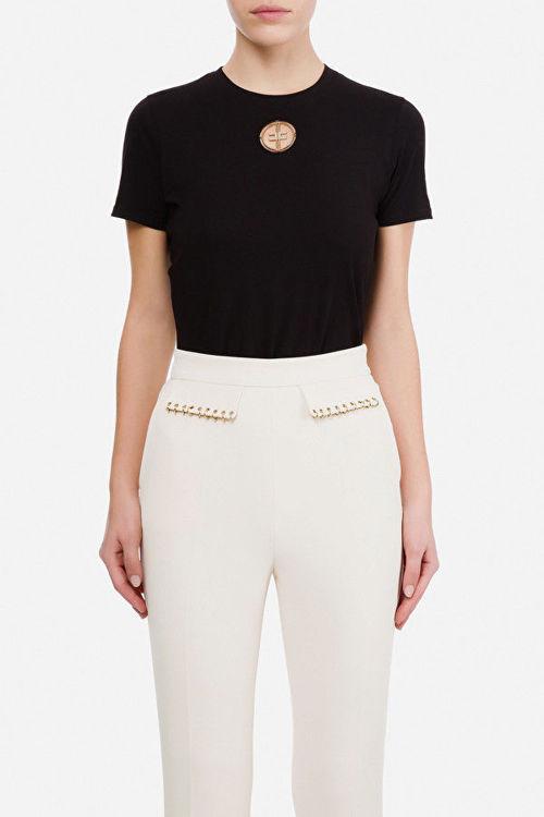 Immagine di T-shirt Elisabetta Franchi con logo in strass ricamato Elisabetta Franchi