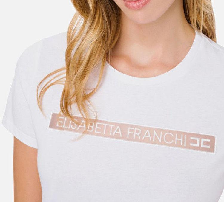 Immagine di T-shirt Elisabetta Franchi con stampa Elisabetta Franchi