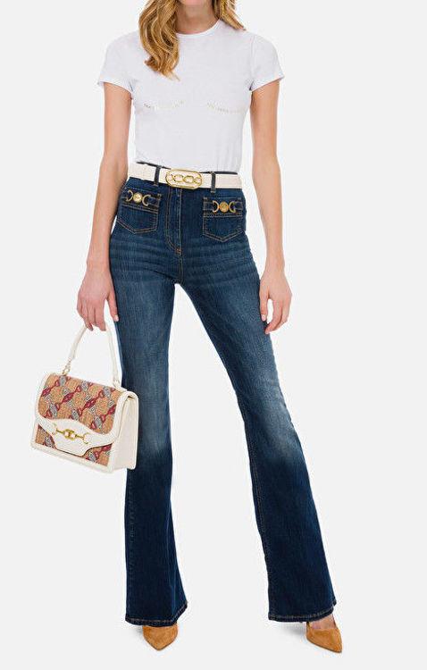Immagine di T-shirt Elisabetta Franchi con scritta dorata Elisabetta Franchi