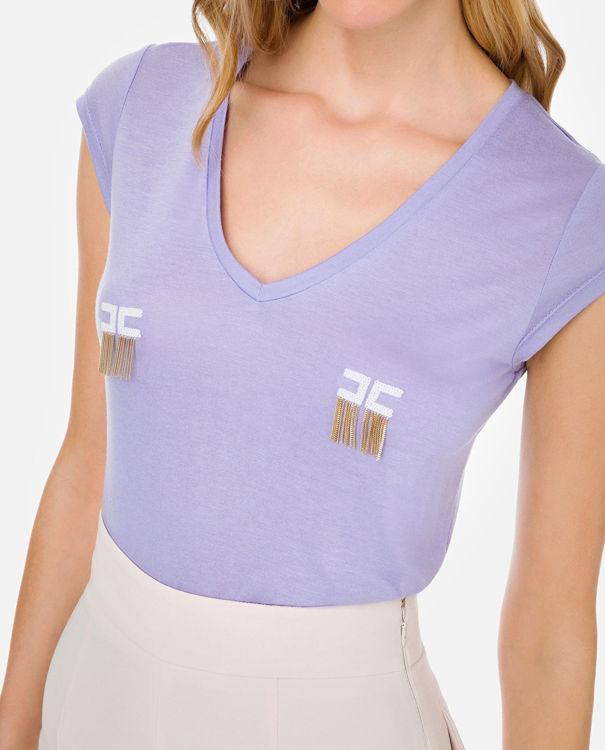 Immagine di T-shirt manica corta con logo e micro catene Elisabetta Franchi