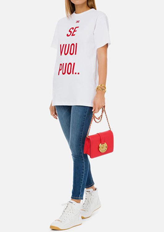 """Immagine di T-shirt """"Se vuoi puoi"""" Elisabetta Franchi"""