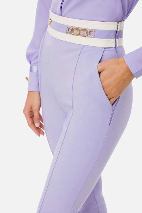 Immagine di Pantalone skinny bicolor con accessorio morsetto Elisabetta Franchi