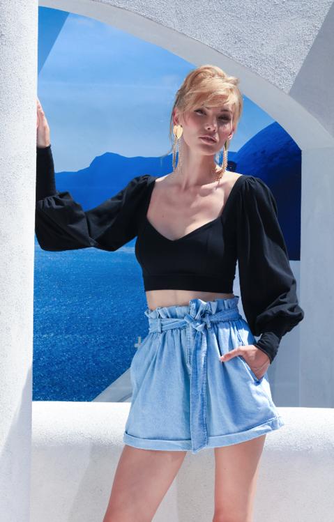 Immagine di Shorts caramella in denim Giulia N