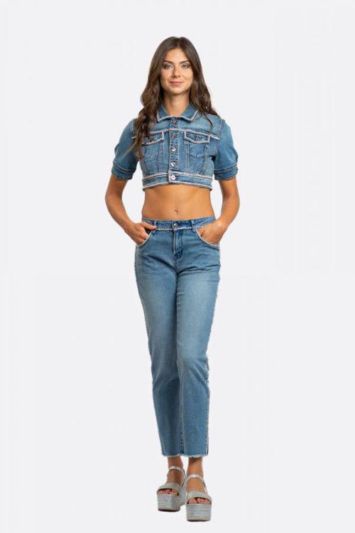 Immagine di Giubbino Jeans corto con profilo in strass incrociato  NoSecrets (ESAURITO)