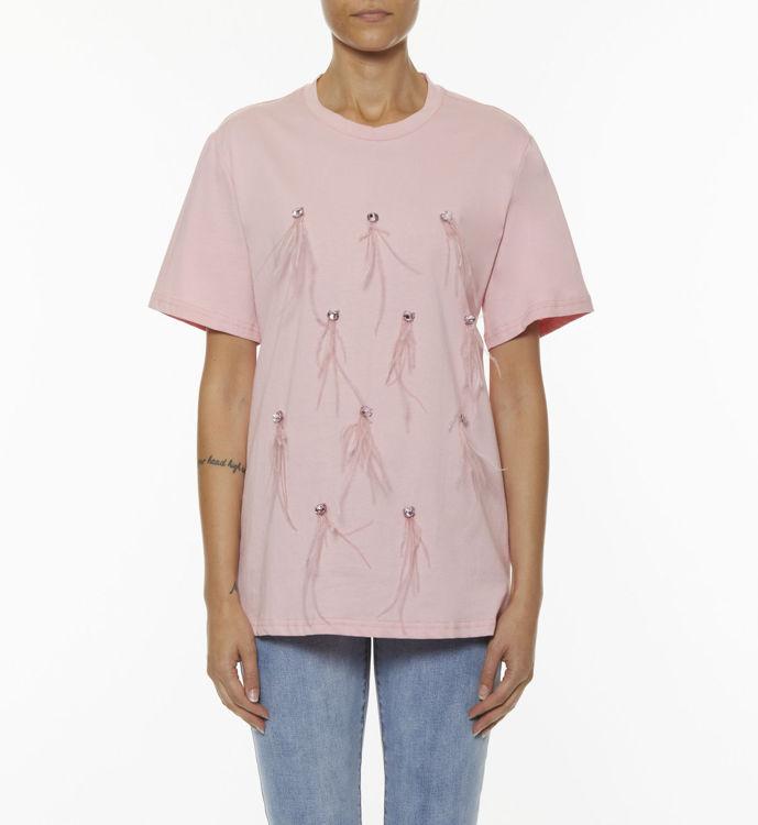 Immagine di T-shirt con castoni e piume Koralline