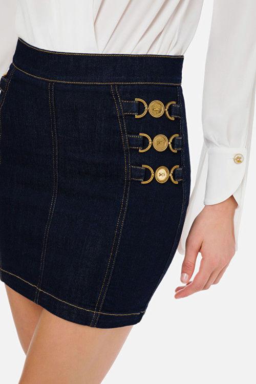 Immagine di Mini gonna in jeans con morsetti light gold  Elisabetta Franchi