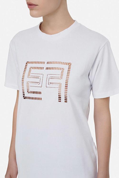 Immagine di T-shirt con logo ricamato Elisabetta Franchi