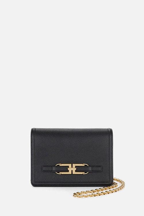 Immagine di Borsa a tracolla con catena e logo oro Elisabetta Franchi(SOLD OUT)