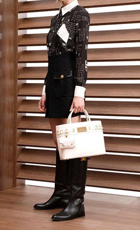 Immagine di Camicia in georgette con con stampa logo bicolor Elisabetta Franchi