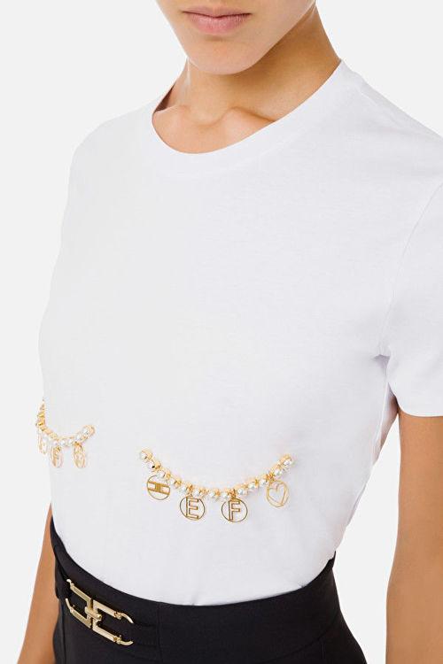 Immagine di T-shirt applicazione perle e charms Elisabetta Franchi