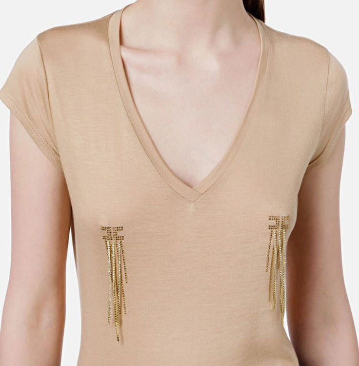 Immagine di T-shirt con scollo a V e applicazione Elisabetta Franchi