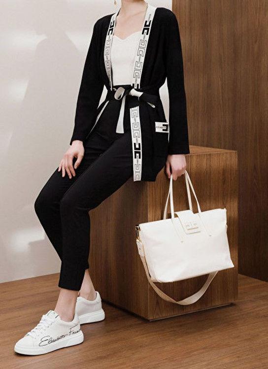 Immagine di Cardigan a vestaglia con logo Elisabetta Franchi