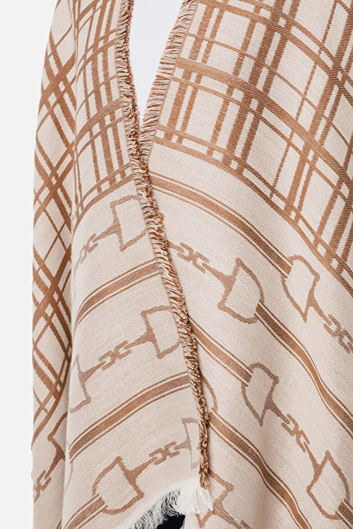 Immagine di Mantella jaquard morsetto logo e tartan Elisabetta Franchi